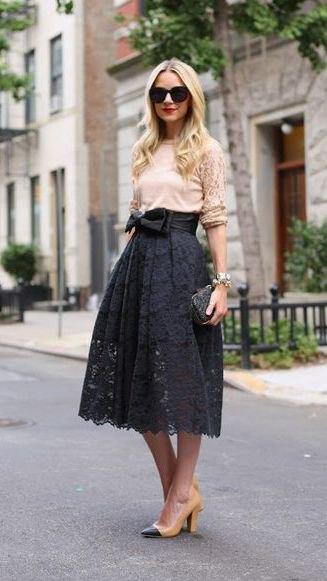 cream top high waist lace skirt