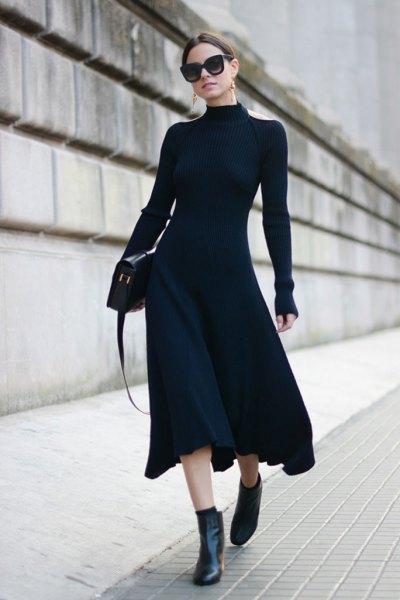 Long-sleeved high-neck ankle dress