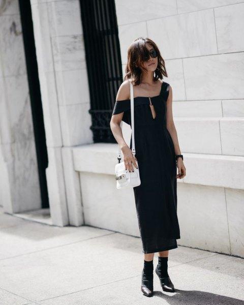 one shoulder black midi dress ankle