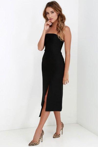 strapless black midi dress cheetah heels