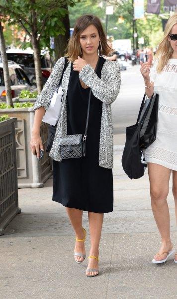 black midi dress heather gray knitted sweater cardigan