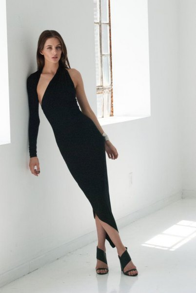 one shoulder simple sleeve asymmetrical black midi dress