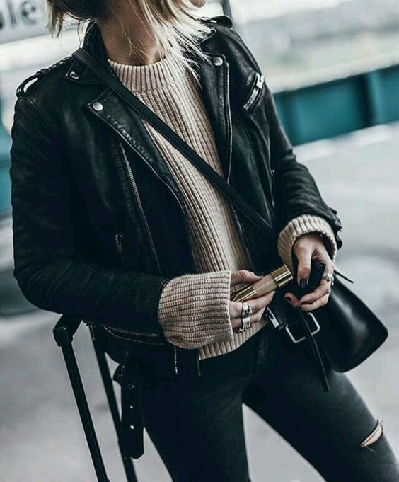 black leather moto jacket beige knitted