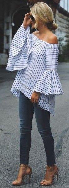 striped dress in shoulder top