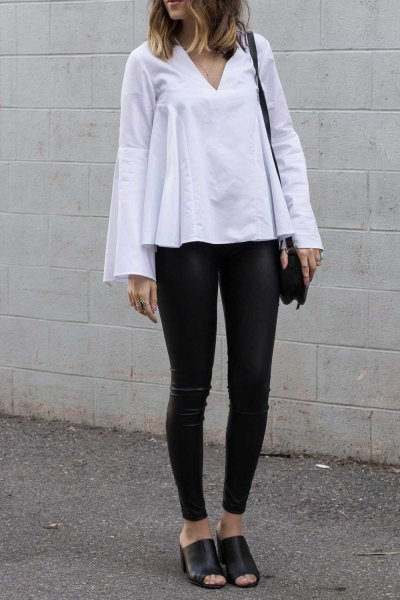 white watch sleeves top leather leggings