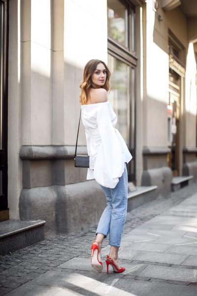 off shoulder white top jeans red heels