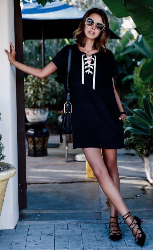 necktie casual dress black