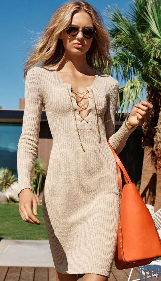 tie breast dress elegantly knitted