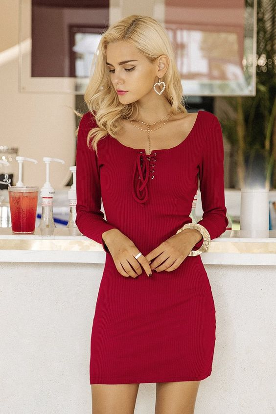 tie breast dress elegant red
