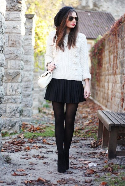 white knitted sweater black plaid mini skirt