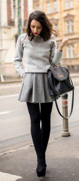gray wool mini skirt knitted sweater