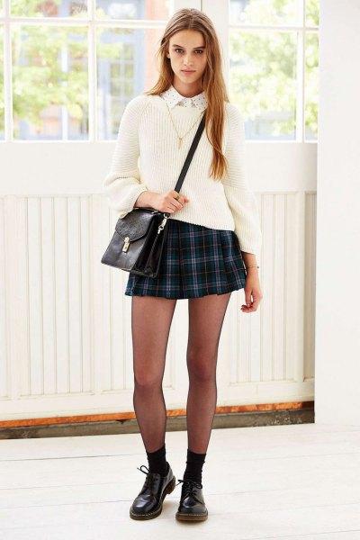 navy blue plaid mini skirt white sweater