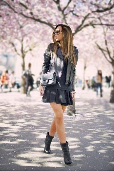 black mini skirt ankle