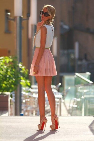 white sleeveless top pink mini skirt