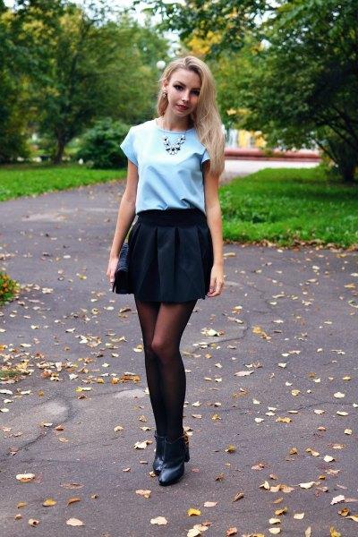 black plaid mini skirt sky blue tee
