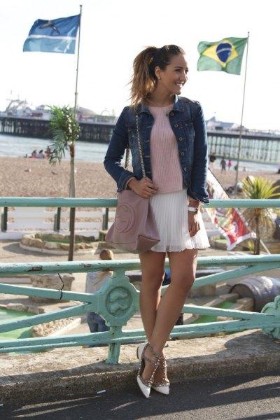 white skirt denim jacket outfit