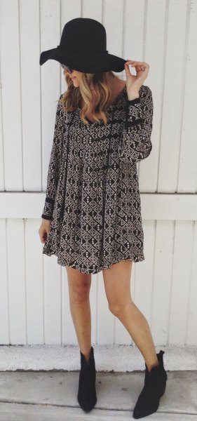 boho breezy dress floppy hat ankle boots
