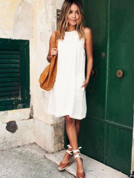 white windy dress striped heels