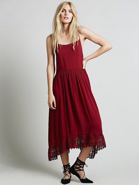 red breezy slip maxi dress strappy heels