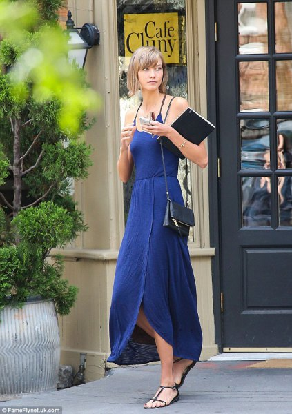 blue maxi slip dress sandals