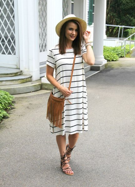 striped t-shirt dress grass hat outfit