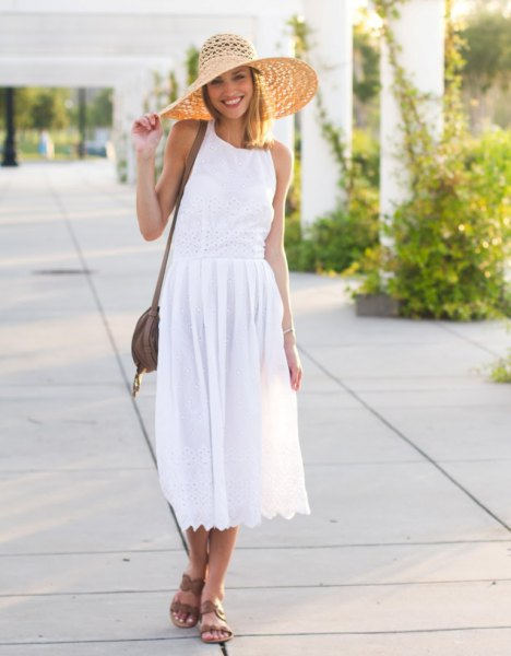 white breezy midi dress outfit