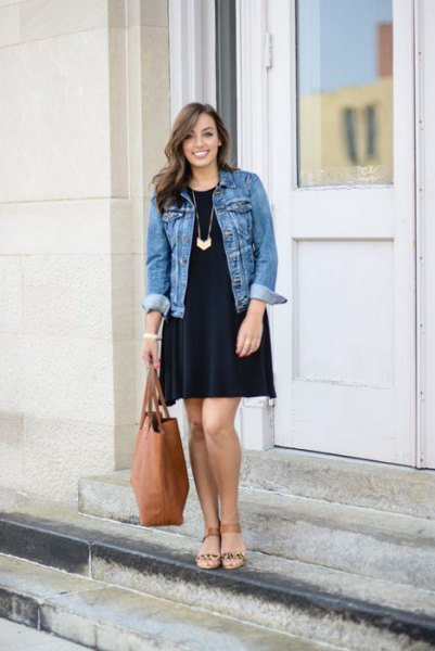 black shift dress denim jacket