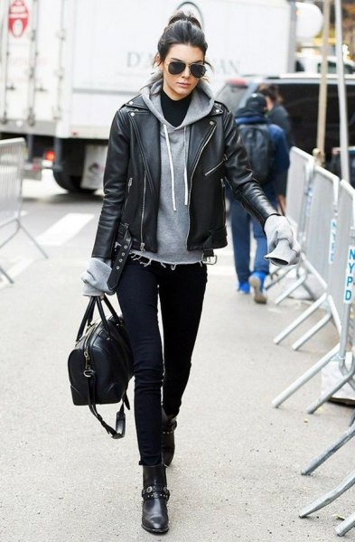 black ankle boots gray hoodie black leather jacket