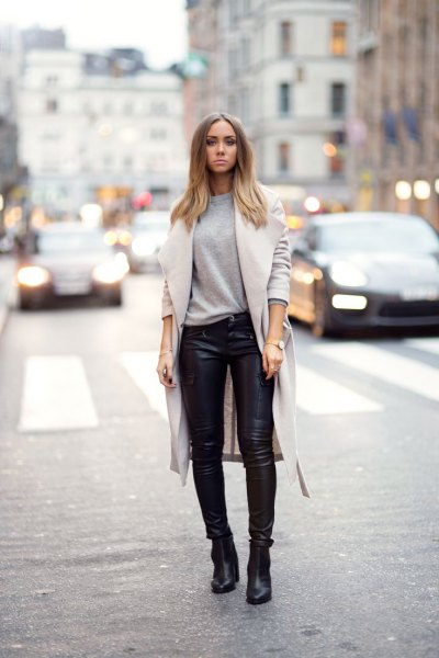 leather trousers black ankle boots wool coat