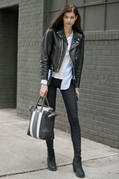 black ankle boots leather jacket outfit