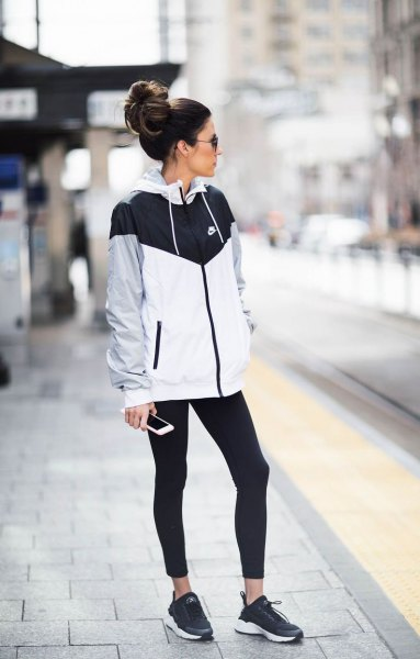 running pants nike black white gray windbreaker