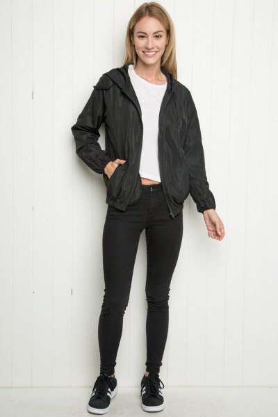 black skinny jeans winer sports jacket