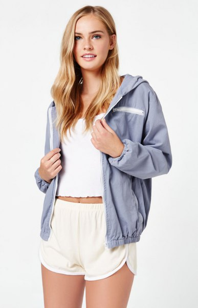 white cropped west blue windbreaker