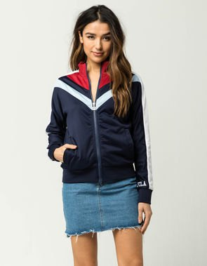 navy red white windbreaker denim skirt