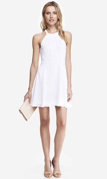 white dress nude sandals