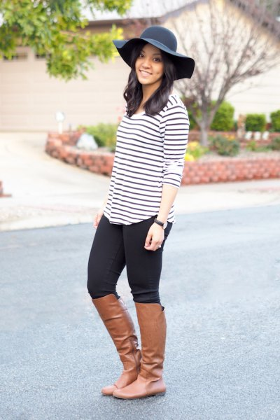 black and white striped t-shirt black floppy hat