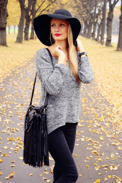 black floppy hat heather gray knitted sweater