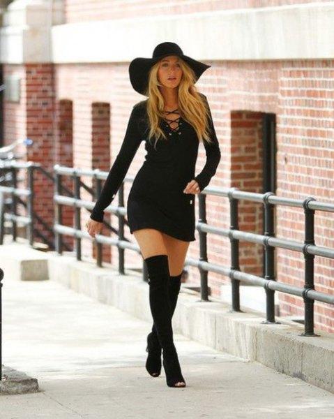 black floppy hat tie breasts bodycon dress