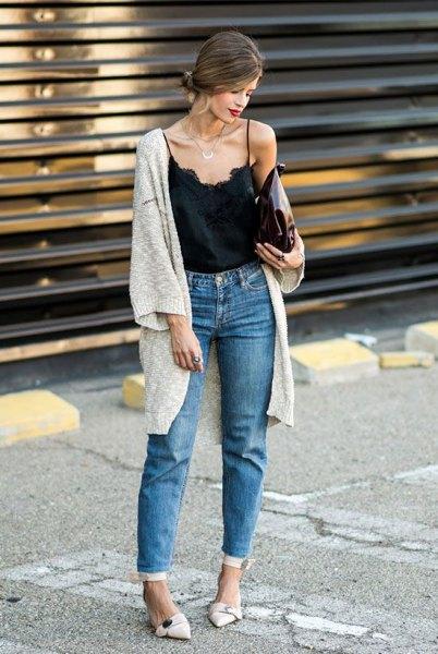 mom jeans black vest top gray longline cardigan