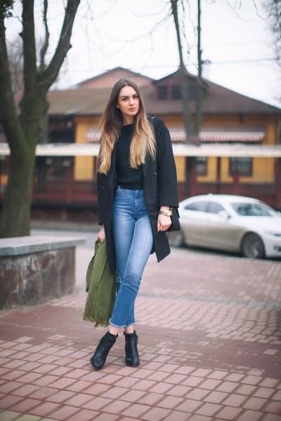 black knit sweater gray wool coat mom jeans