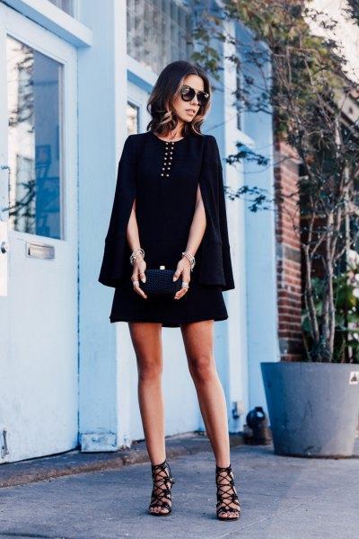 black mini dress strappy heels