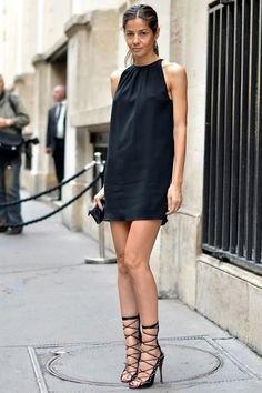 black shirt dress striped heels