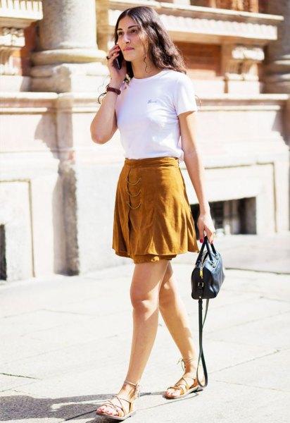green mini skirt gladiator sandals