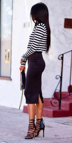 black and white striped tee-striped heels