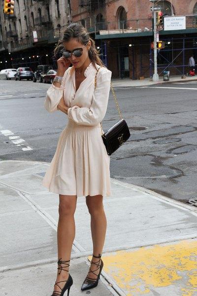 black strappy heel white blouse flare skirt