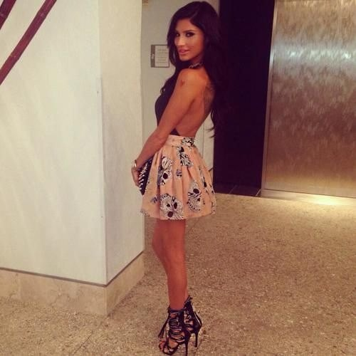 strappy heels black and pink floral halter dress