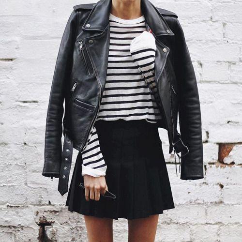 black skater skirt stripes