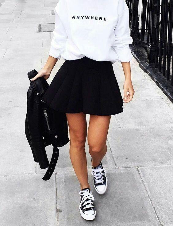 black skater skirt white hoodie