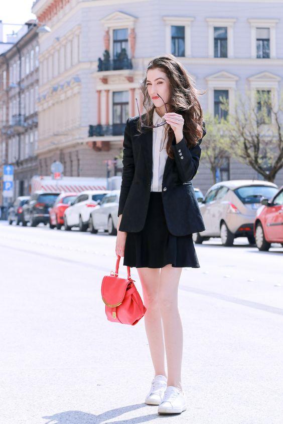black skater skirt blazer sneakers