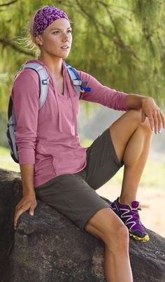 long sleeve tee floral handbag hiking shorts